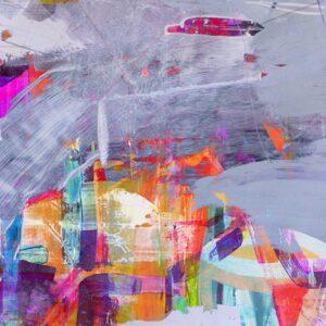 ציור לבית מודרני כתמים צבעוניים על רקע אפור, ציור אבסטרקט שמח