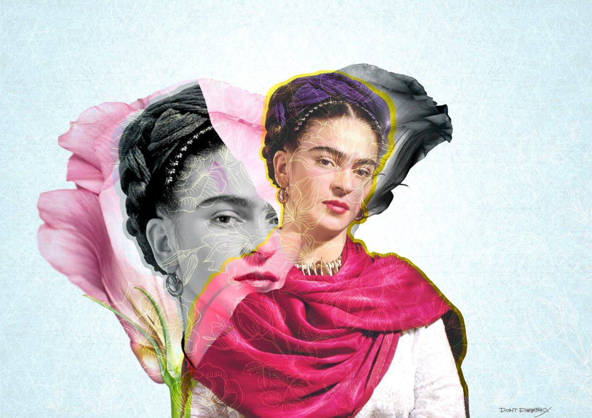 פרידה קאלו, בשמלה וורוד עם פרח וורוד מאחוריה