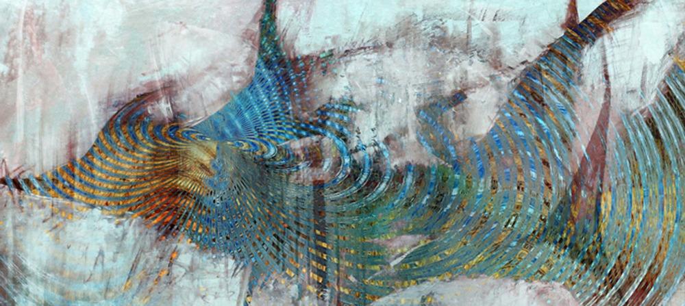 ציור אבסטרקט דיגיטלי של דג זהב דמיוני, בצבי תכלת וטורקיז