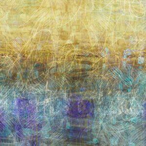 ציור אבסטרקט של שדה מוזהב בטבע צהוב וטורקיז עם טקסטורות עדינות