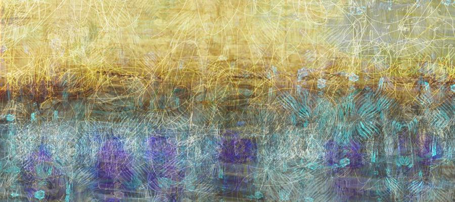 שדה מוזהב בטבע צהוב וטורקיז עם טקסטורות עדינות