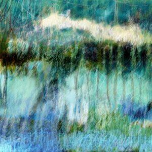 ציור לבית ולסלון בכחול וטורקיז, מים ושמים המתמזגים יחד