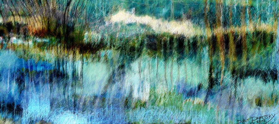 ציור בכחול וטורקיז, מים ושמים המתמזגים יחד