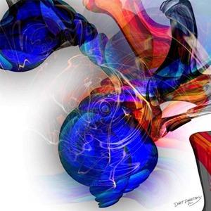 ציור צדפה בגוון כחול עז על רקע לבן