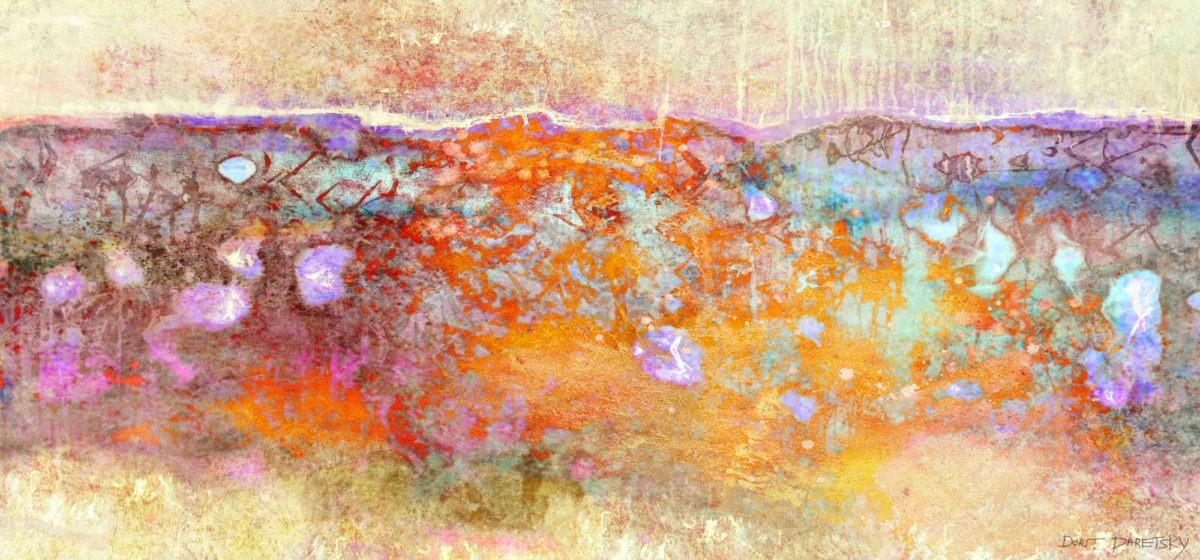ציור רוחבי שדות בכתום וצהוב עם כתי צבע בטורקיז