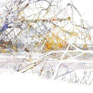 עצים באפור על רקע לבן