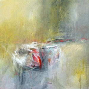אבסטרקט משיכות צבע לבנות וכתם אדום על רקע צהוב