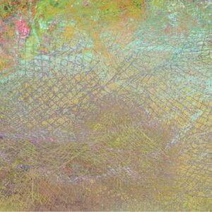 אבסטרקט בצבע טורקיז וורוד עם טקסטורה של רשת דייגים