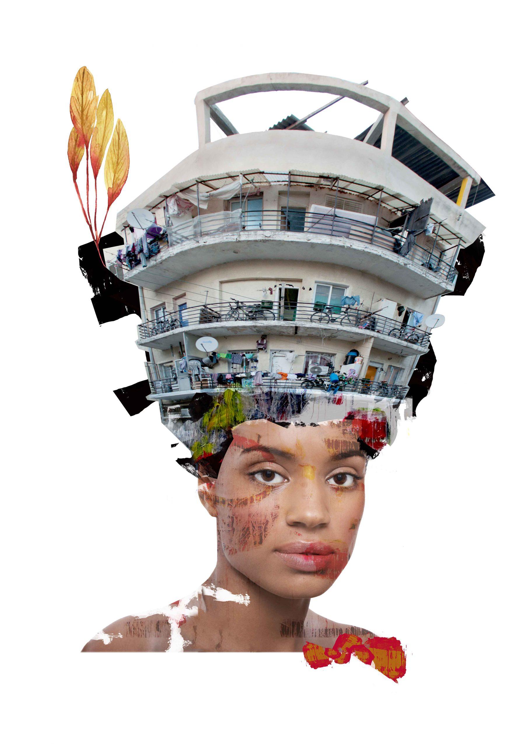 נערה כהת עור שעל ראשה בניין בהאוס תל אביבי ונוצה