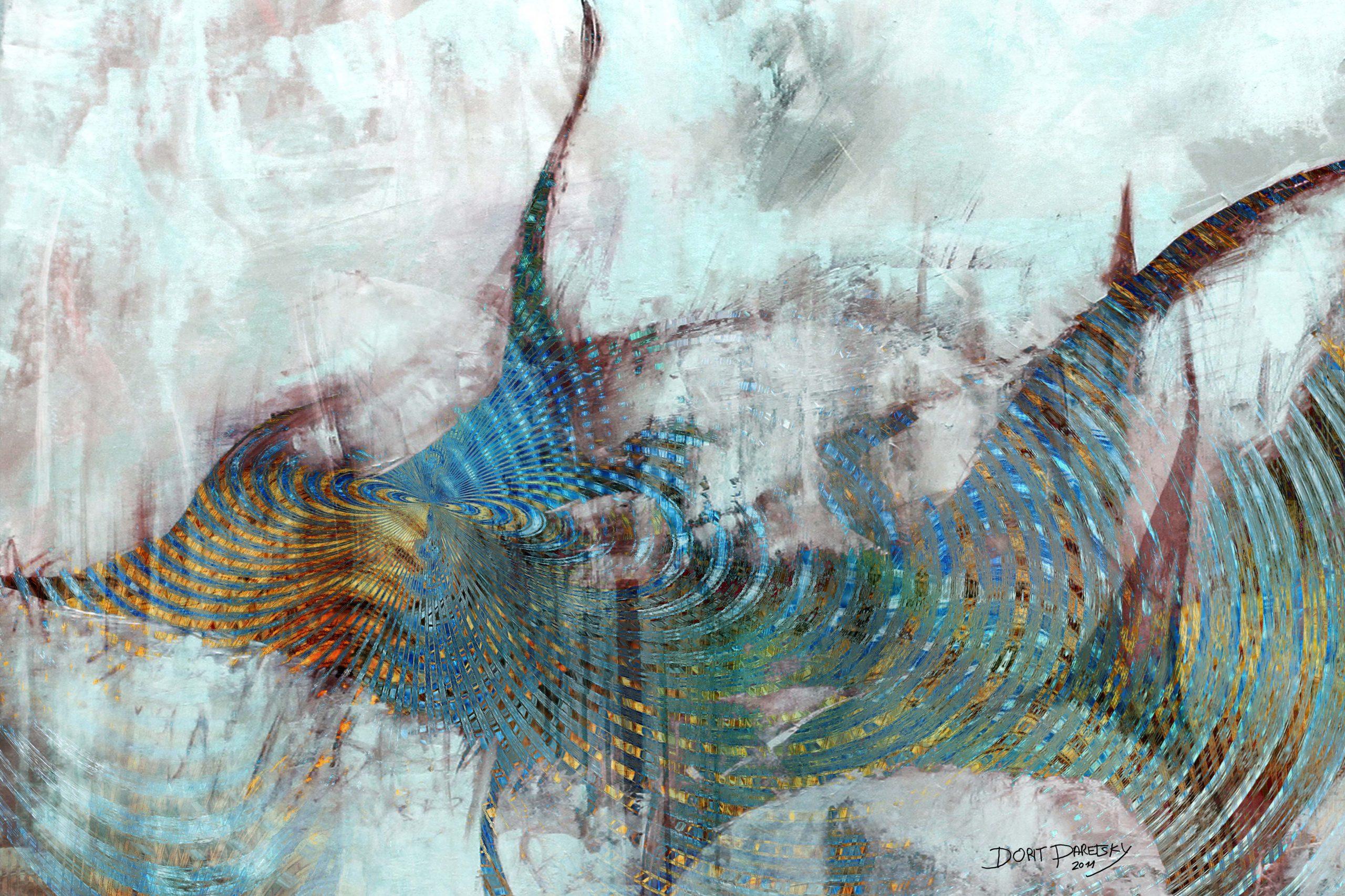 דג זהב בכחול עם סנפירים על רקע תכלת
