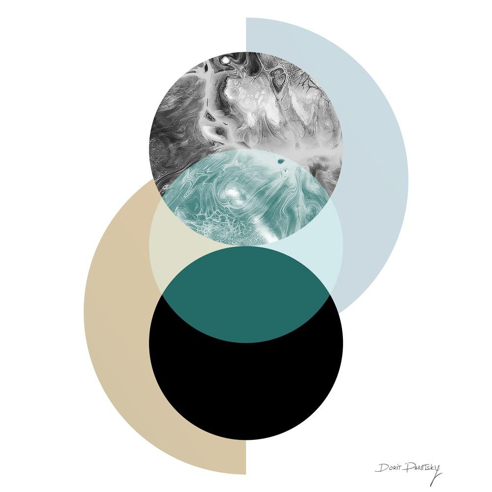 ציור לבית בסגנון נורדי, גאומטרי, שני עיגולים שנפגשים, בצבעים ירוק חום ושחור