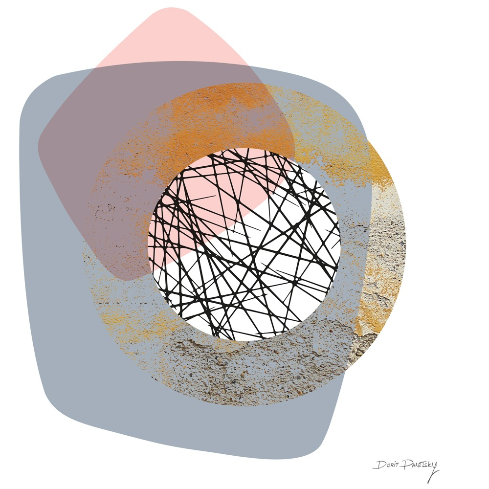 ציור גאומטרי, בסגנון נורדי מינימליסטי, בצבעים אפור, ורוד וצהוב עם טקסטורות של קווים בשחור