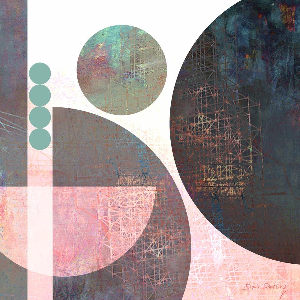 ציור אורבני לבית, גאומטרי, עיגולים משולבים יחד עם טקסטורות עדינות, בצבע כחול טורקיז ורוד חלודה