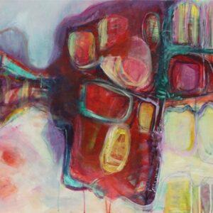 ציור אבסטרקט יפה וצבעוני לבית, בצבעים אדומים ,תכלת, וצהבהב