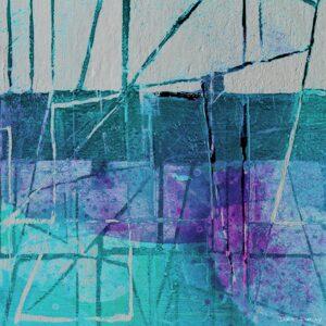 ציור יפיפה אבסטרקט דיגיטלי, קווים וצורות שבו קווים וצורות בצבעים כחולים סגולים וטורקיז