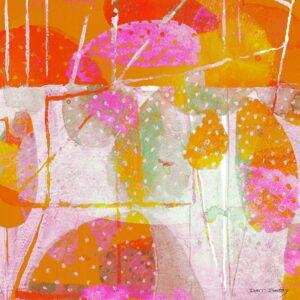 ציור קקטוסים, אבסטרקט לבית בצבעים עליזים כתום ורוד וצהוב