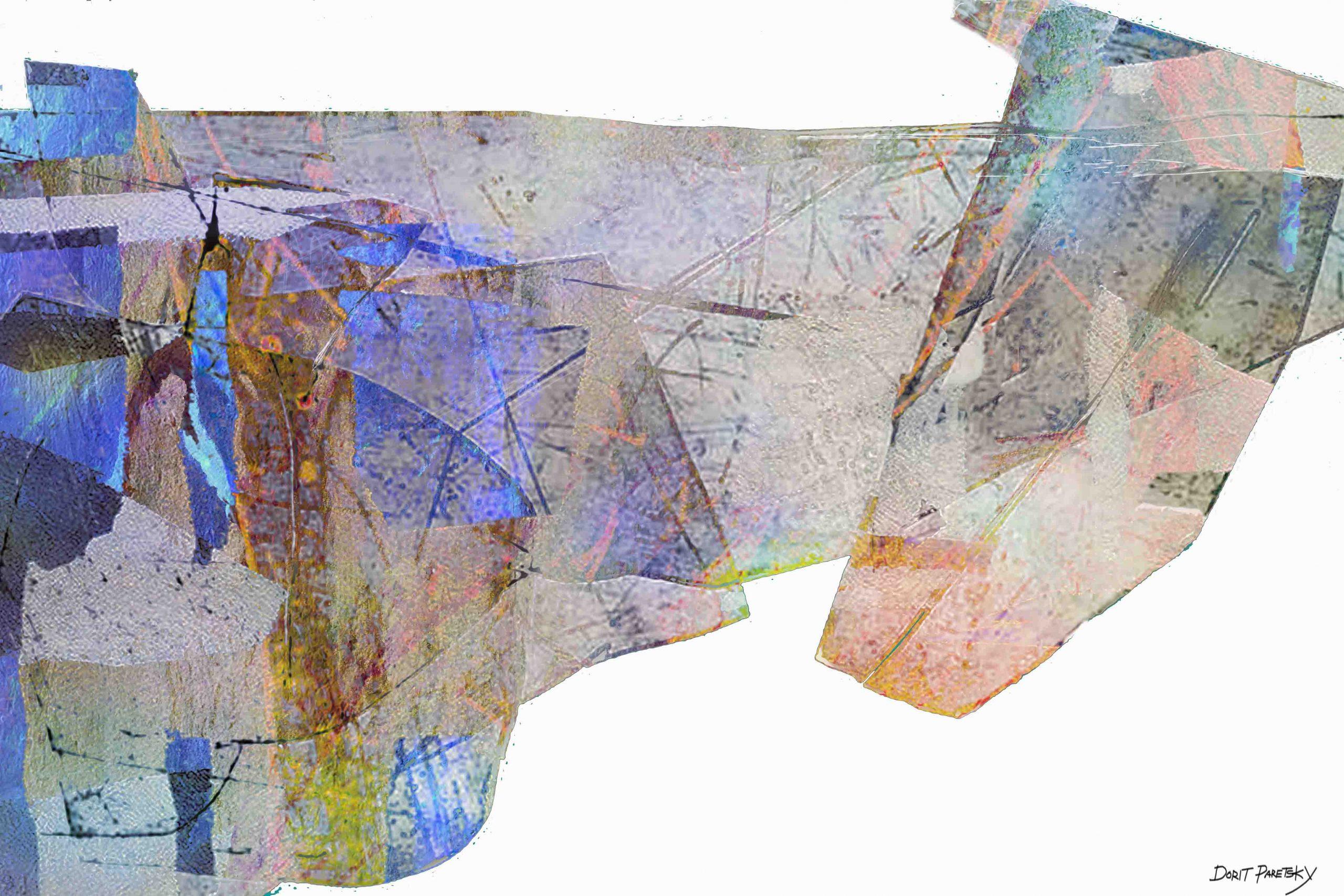 ציור לסלון אבסטרקט דיגיטלי גאומטרי בצבעוניות הרמונית