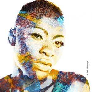 ציור דיגיטלי ממוחשב פניה של אשה אפריקאית קצוצת שיער מביטה קדימה כשעל פניה קעקועים שיבטיים