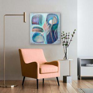 ציור אבסטרקט בוורוד בהתאמה לכורסא הוורודה