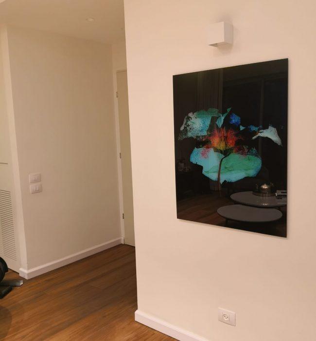 ציור דיגיטלי עלה אדום על רקע שחור הודפס על פרספקס בכניסה לבית